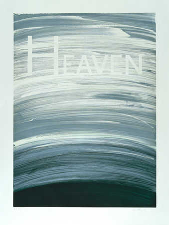 The word HEAVEN over a scraped blue and black ink field.  The same plate was used for the...