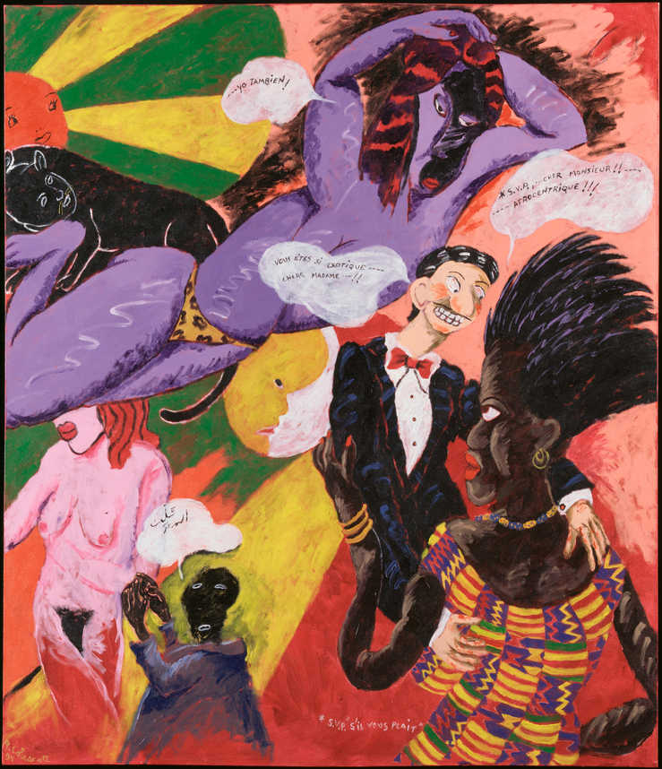 Multiple representations of women.  One Picasso-like woman, one nude, and one African woman.  The...