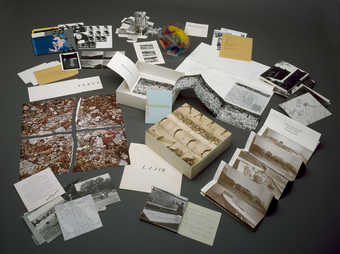 A box of multiples by Bochner, Christo, Dibbets, Graham, Huebler, Kaprow, Kirby, Kosuth, LeWitt,...