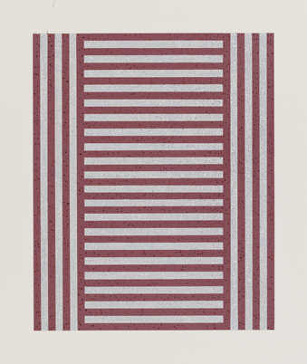 two bands of horizontal stripes divided by one band of vertical stripes