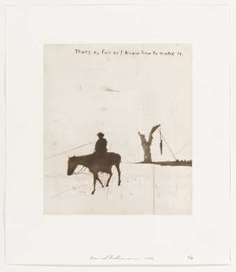 an image of cowboys and text, printed in sepia