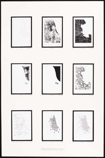 photographs of 9 printing elements printed in black illustrating the progression of color...