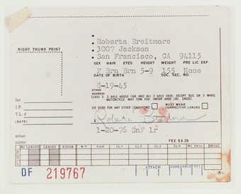 Photo of Roberta's drivers license.
