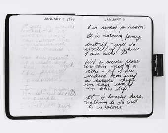 Photograph of open pages of Roberta&#x27;s diary