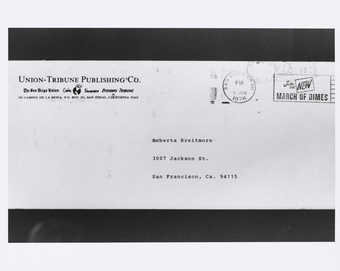 Photograph of envelope from Union-Tribune Publishing Co.