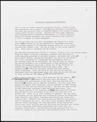 Photograph of text of psychiatric evaluation.