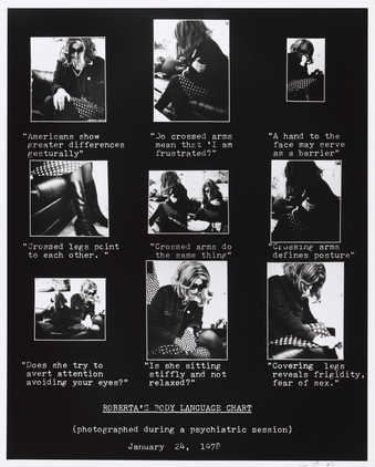 Photograph of 9 smaller images of woman sitting.