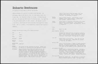 Chart showing life details of Roberta Breitmore.