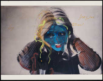 Image of Roberta clasping her head with blue, red, yellow watercolor hand additions.