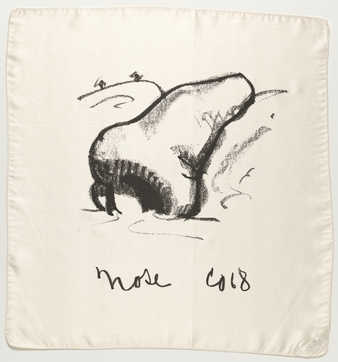 silk handkerchief printed with image of nose; imprinted &quot;Nose&quot; and initialed