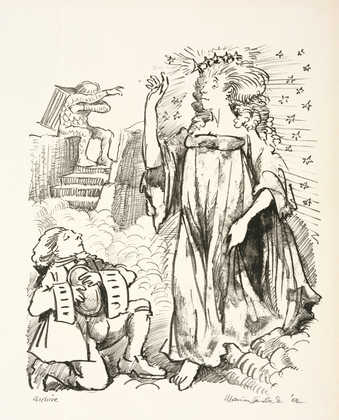 An image of a man on one knee looking up at a standing woman, who has one arm raised.