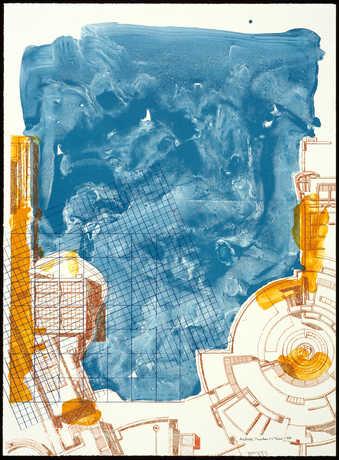 A floor plan rendering of the Getty, Los Angeles.