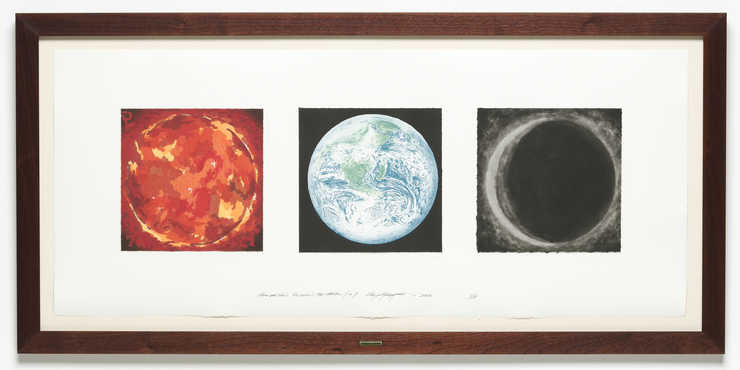An image of the sun, earth, and an eclipsed planet.  A woodcut, lithograph and intalio mounted...