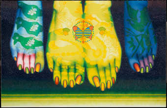 brightly colored painting of two feet
