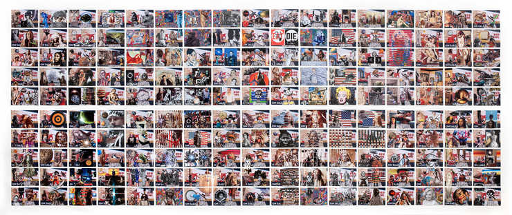 A grid of collage on postcards.  The postcards are primarily from the artist's son's...