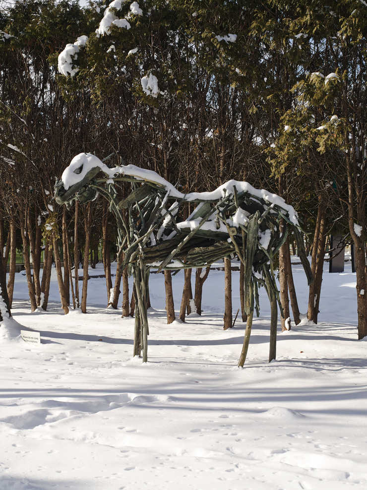 Horse constructed of bronze sticks and branches