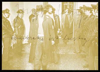Photo on front of card is of Beuys with students leaving the Secretariat of the Staatliche...