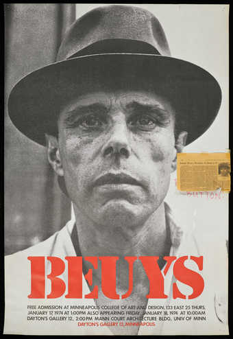 "A poster advertising Beuys' visit to Minneapolis.  Text reads ""Free admission at..."