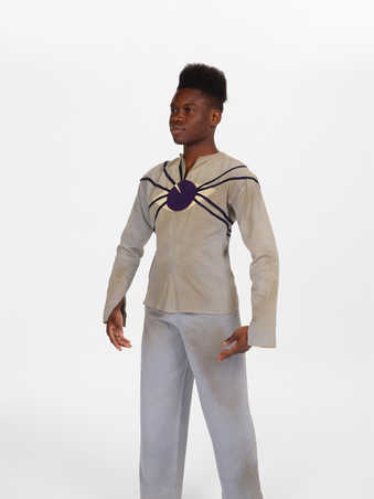 COSTUME: Gray longsleeve shirt with felt appliqued eyeball on back and gray pants with side...