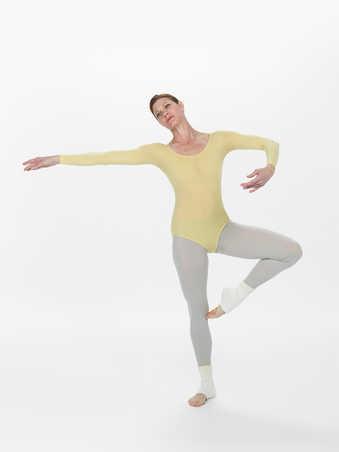 COSTUMES: Light yellow long sleeve leotards with scoop necks. Merce's leotard has ombre...