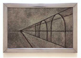 simple perspective line drawing in black paint on light colored textured surface with silver...