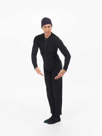 COSTUMES: Navy cotton sweatshirt, nude knitted leotard, black nylon leotard, black ribbed...