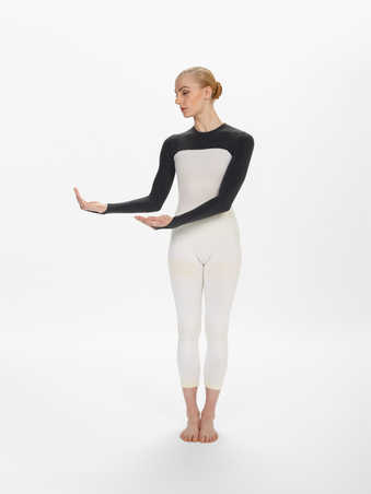 COSTUMES: Long sleeve leotards with black tops and arms and white torsos. Finger loop at the end...