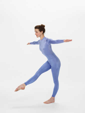COSTUMES: Long sleeve unitards in lavender and royal blue. Long sleeve unitards ombre...