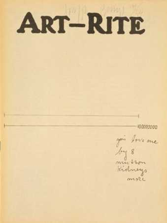 Fall 1975 issue of ART-RITE magazine with cover credited to Joseph Beuys. Printed text on cover...