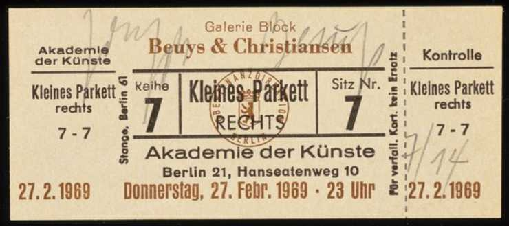 Entrance card to a Fluxus concert of the same name as title of work. Concert was given by Beuys...