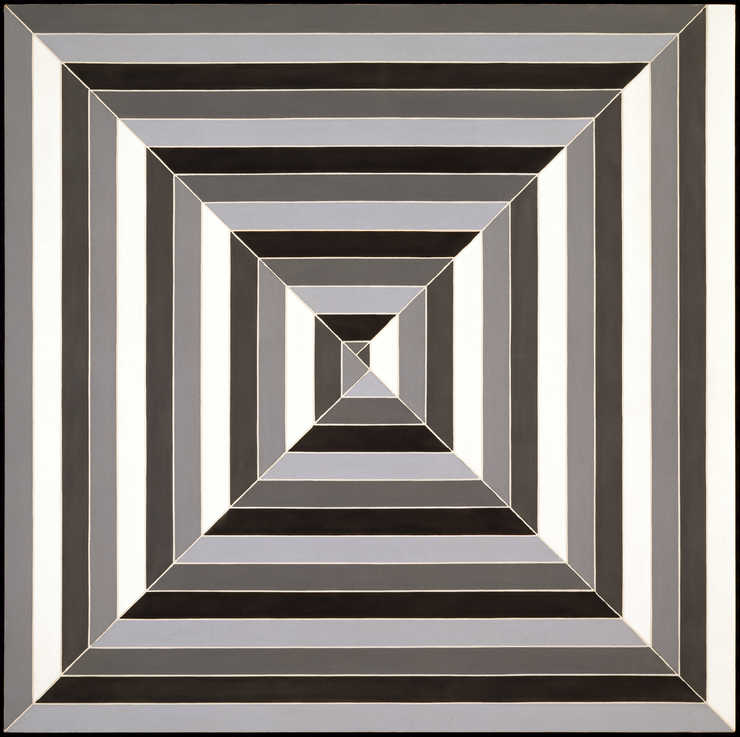 square cut by two diagonals creating four triangles stripes of black, grey and white create a...