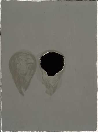 black oil paint on paper, with hole torn in center, handwritten additions on front and reverse. ...