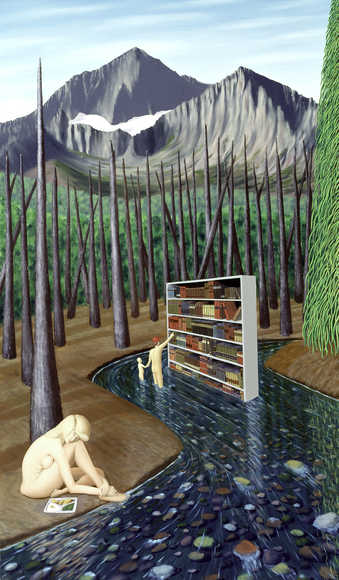 nude girl in foreground, library shelves floating down stream with browsers in stream at shelves