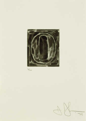An image of the figure 0 printed in black.  An intaglio print from on cooper plate.