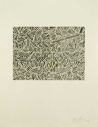 A composition composed of groupings of black lines.  An intaglio print from four copper plates.