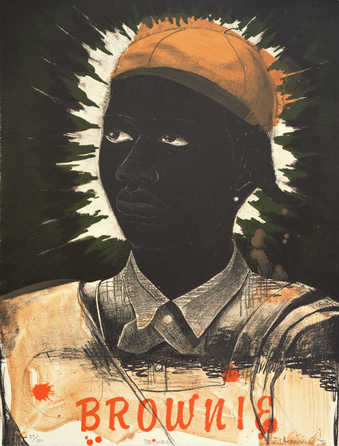 "portrait of a black girl wearing orange/brown cap; ""Brownie"" in orange at lower middle"