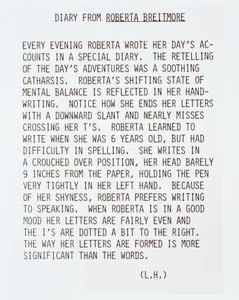 Photograph of text about Roberta writing in her diary