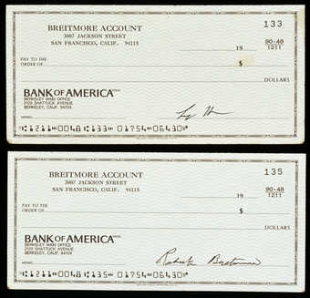 Bank check signed by Roberta Breitmore