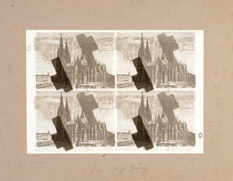 offset lithograph depicting Cologne cathedral, signed by Beuys within rectangle.