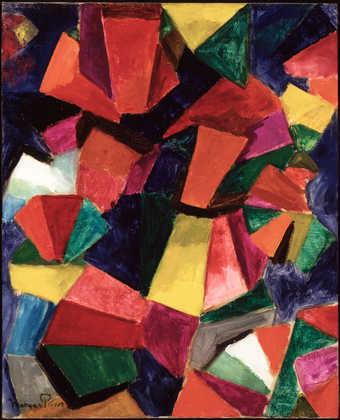 abstract compostion of geometric shapes of green, red, blue, grey, yellow and purple.