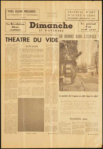 Newspaper facsimile (Dimanche Nov. 27, 1960) with Yves Klein's image Un Homme dans...