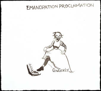 "black ink drawing of a woman about to place her foot in a bear trap; text read ""Emancipation..."