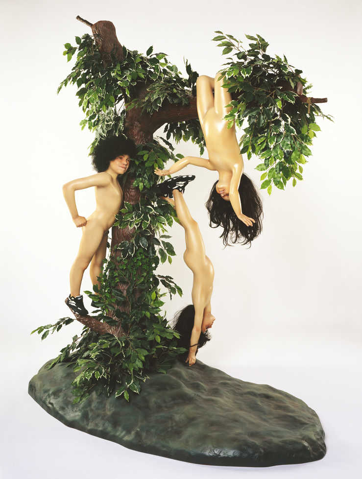 three children playing on tree; references Goya's Disasters of War etchings