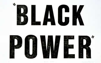 "The words  ""BLACK POWER"" printed in black ink from a rubber stamp.  From a suite of..."