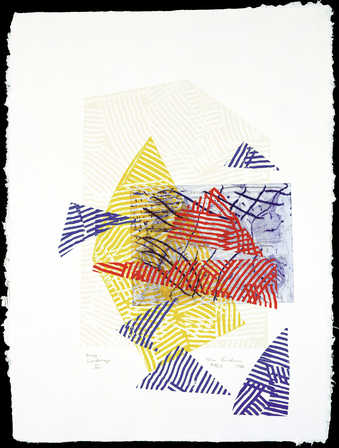 colorful relief prints heavily embossed