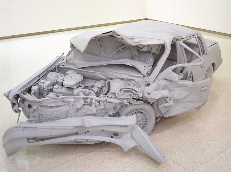 A realistic model of a crashed Pontiac Grand AM