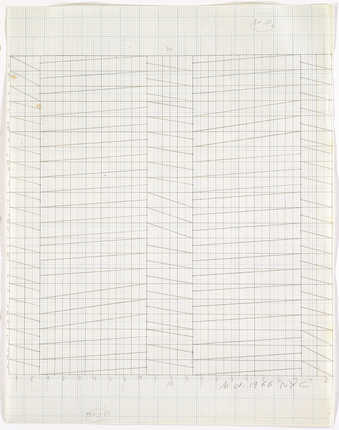 A drawing of a geometric grid pattern on graph paper.