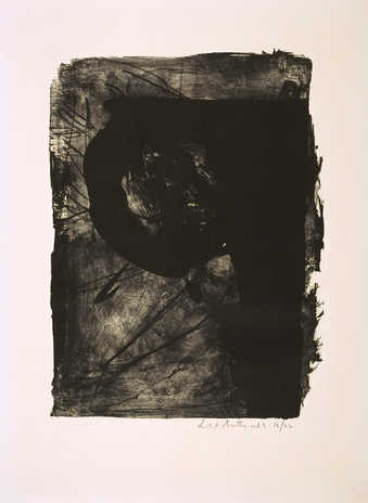 A lithograph from one stone printed in black