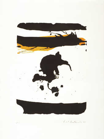 A lithograph from two stones printed in black and ochre. One horizontal black bands across top,...