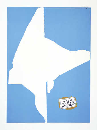 A screenprint printed in blue, black, and brown.  This editioned poster was donated to the Paris...